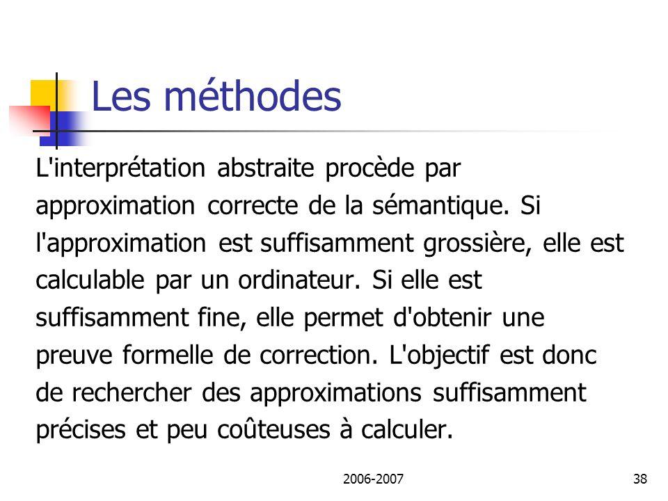 Les méthodes L interprétation abstraite procède par