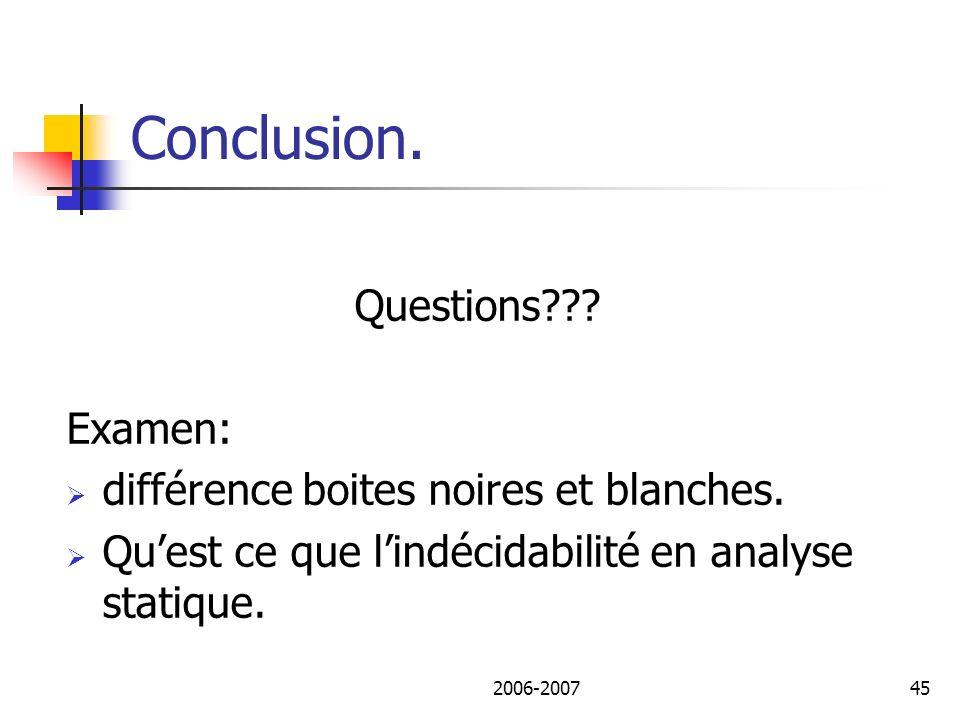Conclusion. Questions Examen: différence boites noires et blanches.