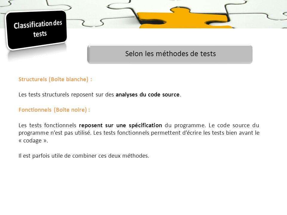 Classification des tests
