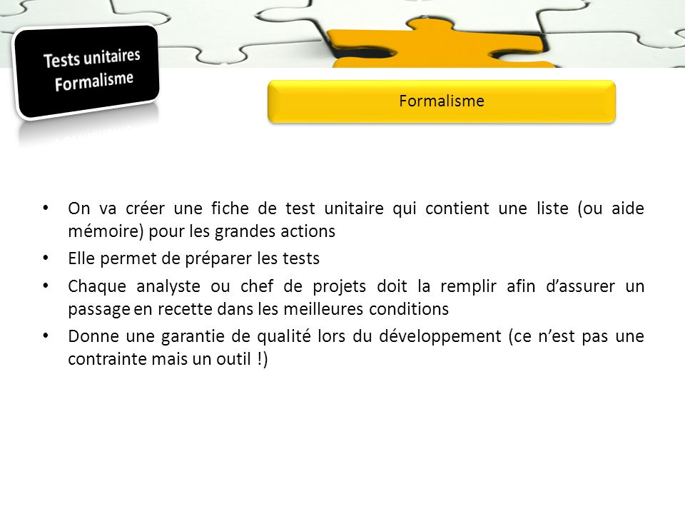 Tests unitaires Formalisme