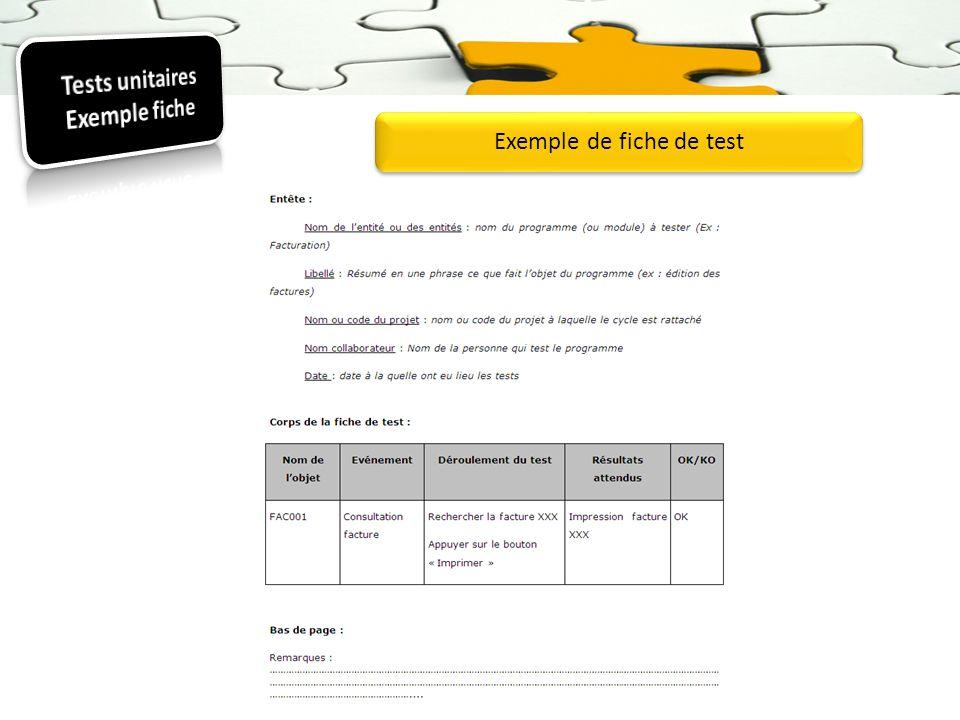 Tests unitaires Exemple fiche