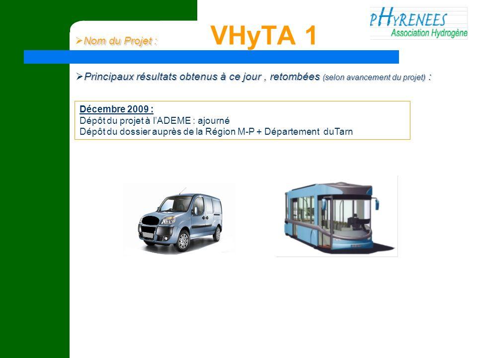Nom du Projet : VHyTA 1 Principaux résultats obtenus à ce jour , retombées (selon avancement du projet) :