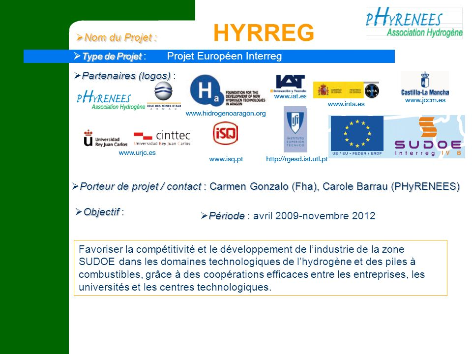 Nom du Projet : HYRREG Type de Projet : Projet Européen Interreg. Partenaires (logos) :