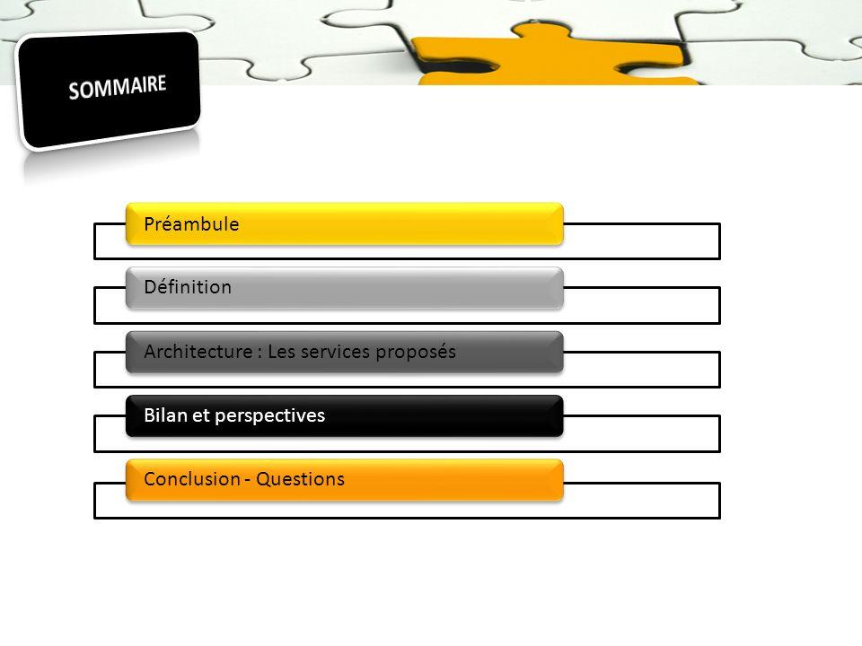 SOMMAIRE Préambule Définition Architecture : Les services proposés