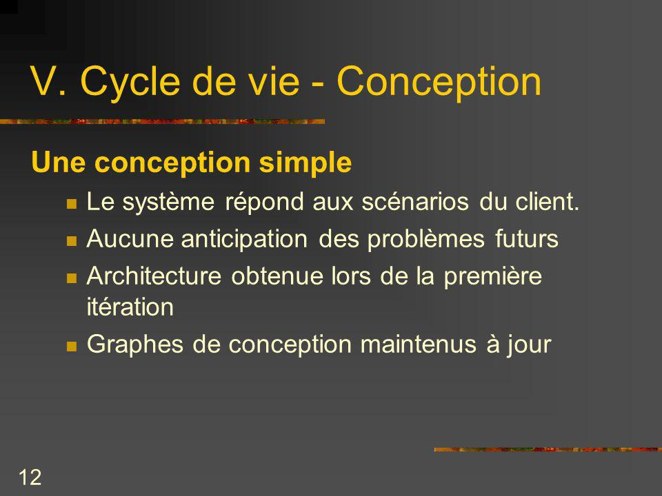 V. Cycle de vie - Conception
