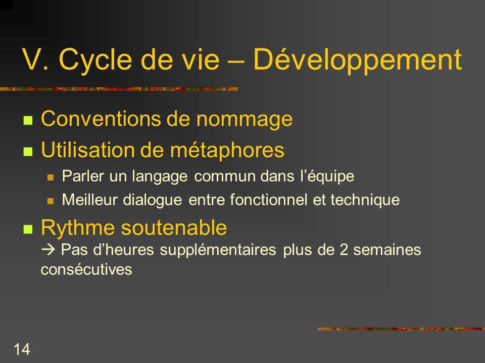 V. Cycle de vie – Développement