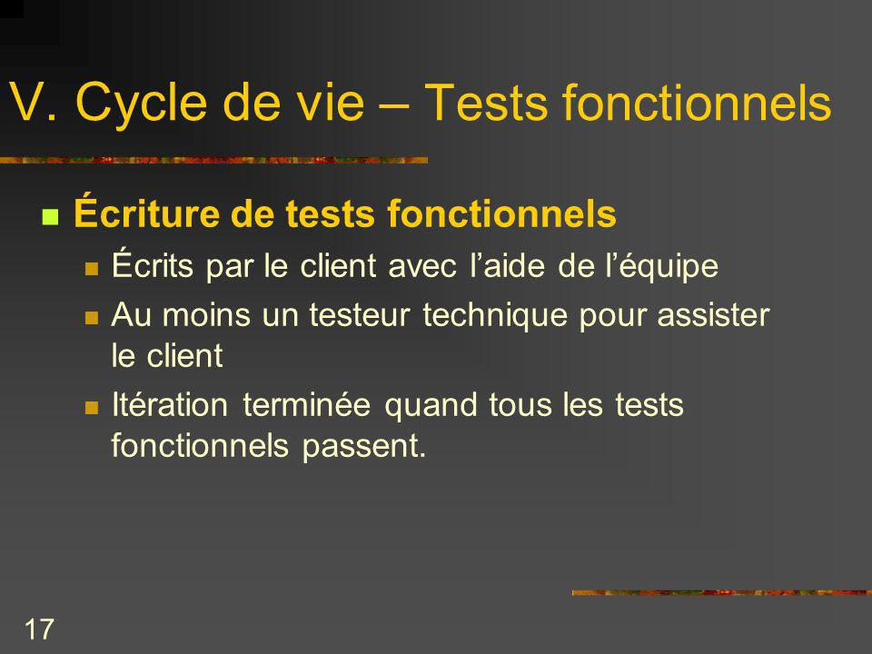 V. Cycle de vie – Tests fonctionnels
