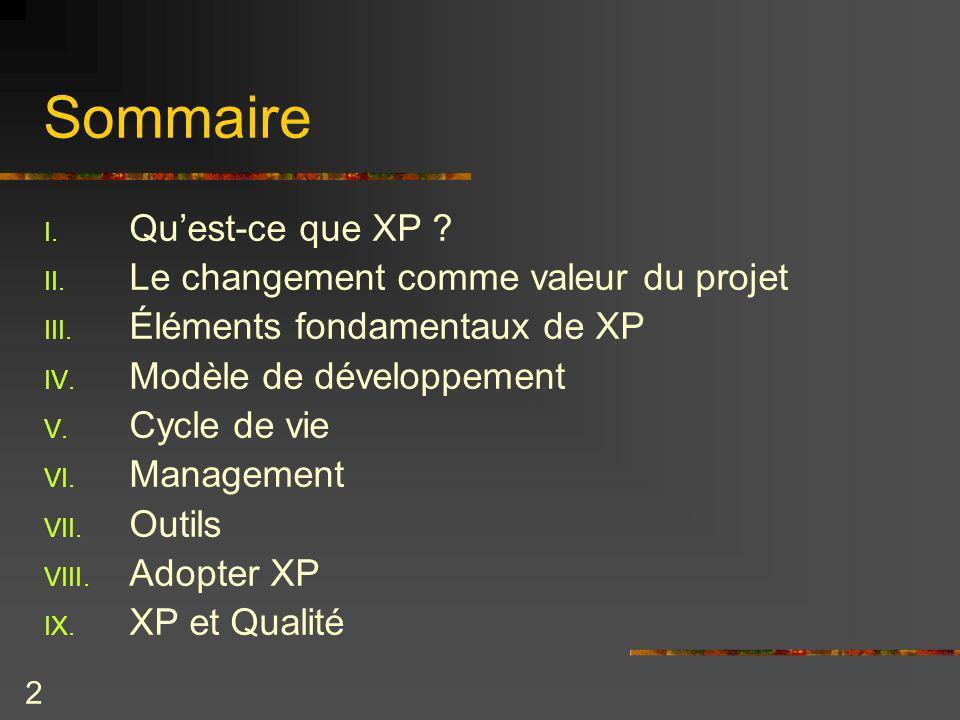 Sommaire Qu'est-ce que XP Le changement comme valeur du projet