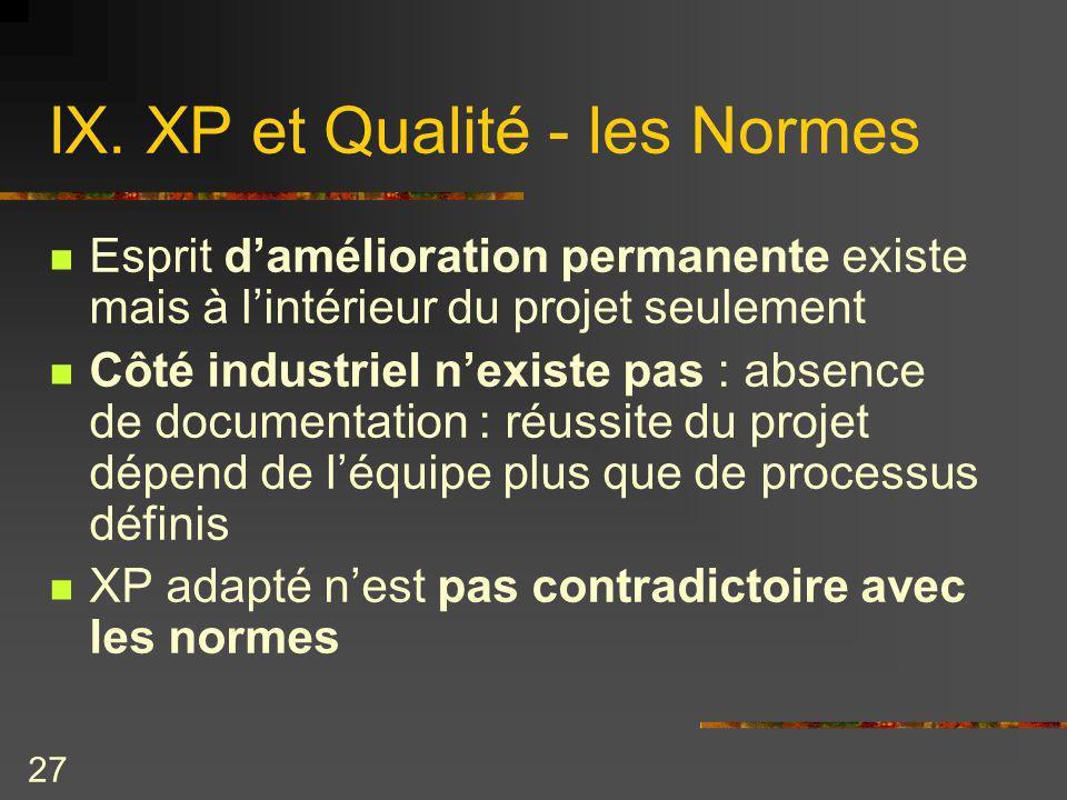 IX. XP et Qualité - les Normes
