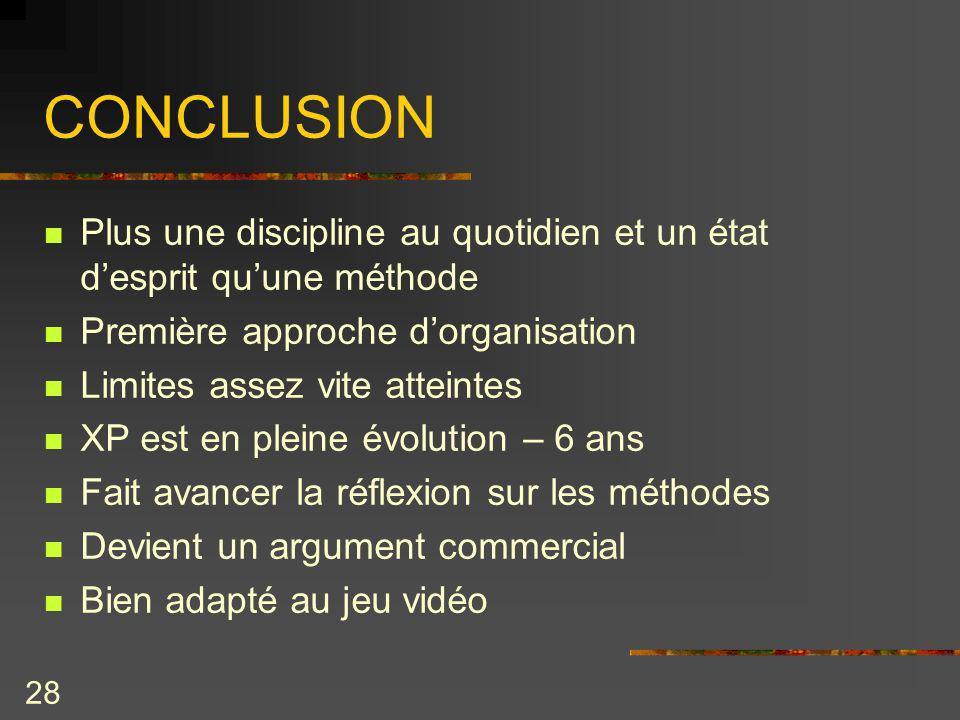 CONCLUSION Plus une discipline au quotidien et un état d'esprit qu'une méthode. Première approche d'organisation.
