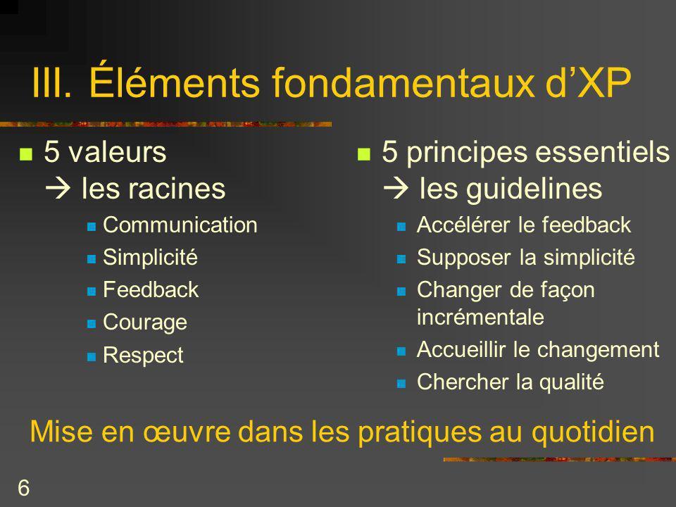 III. Éléments fondamentaux d'XP