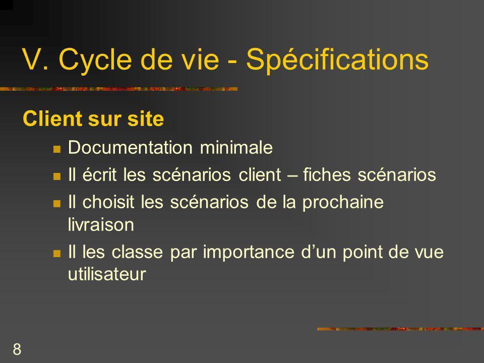 V. Cycle de vie - Spécifications