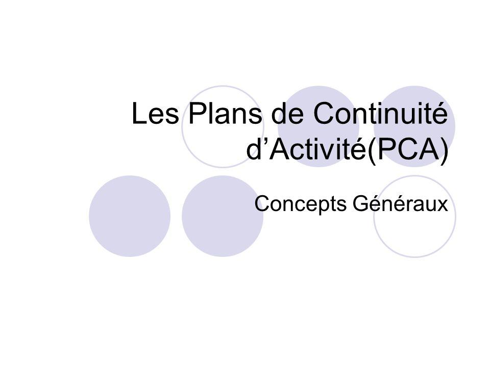Les Plans de Continuité d'Activité(PCA)