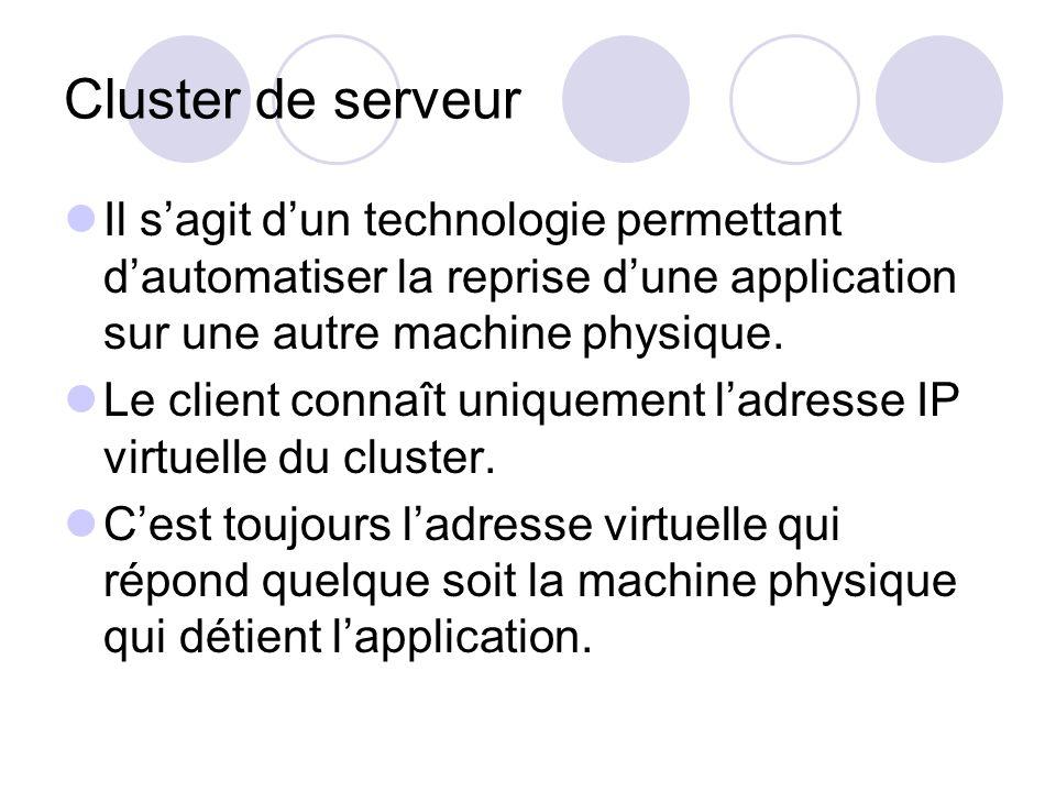 Cluster de serveur Il s'agit d'un technologie permettant d'automatiser la reprise d'une application sur une autre machine physique.