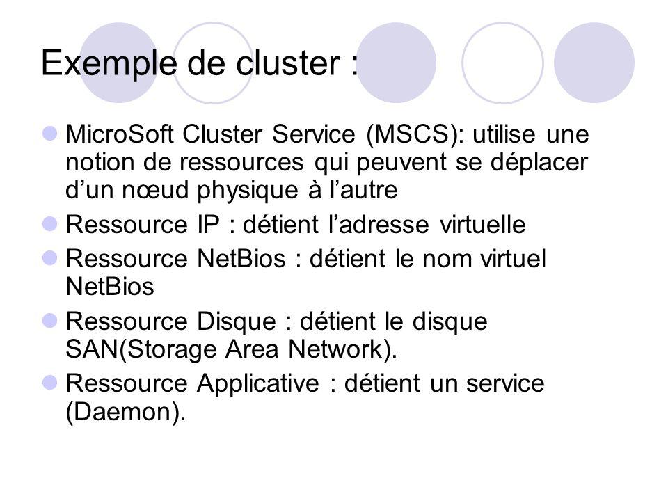 Exemple de cluster : MicroSoft Cluster Service (MSCS): utilise une notion de ressources qui peuvent se déplacer d'un nœud physique à l'autre.