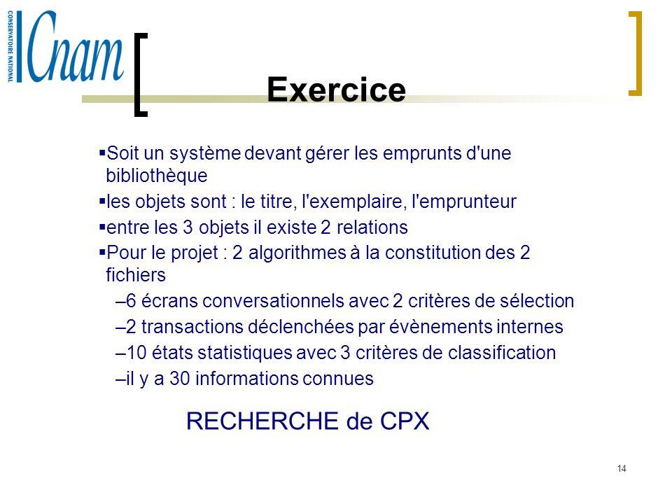 Exercice RECHERCHE de CPX