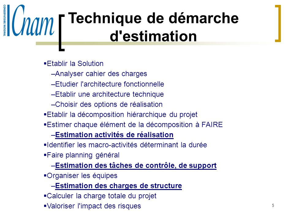 Technique de démarche d estimation