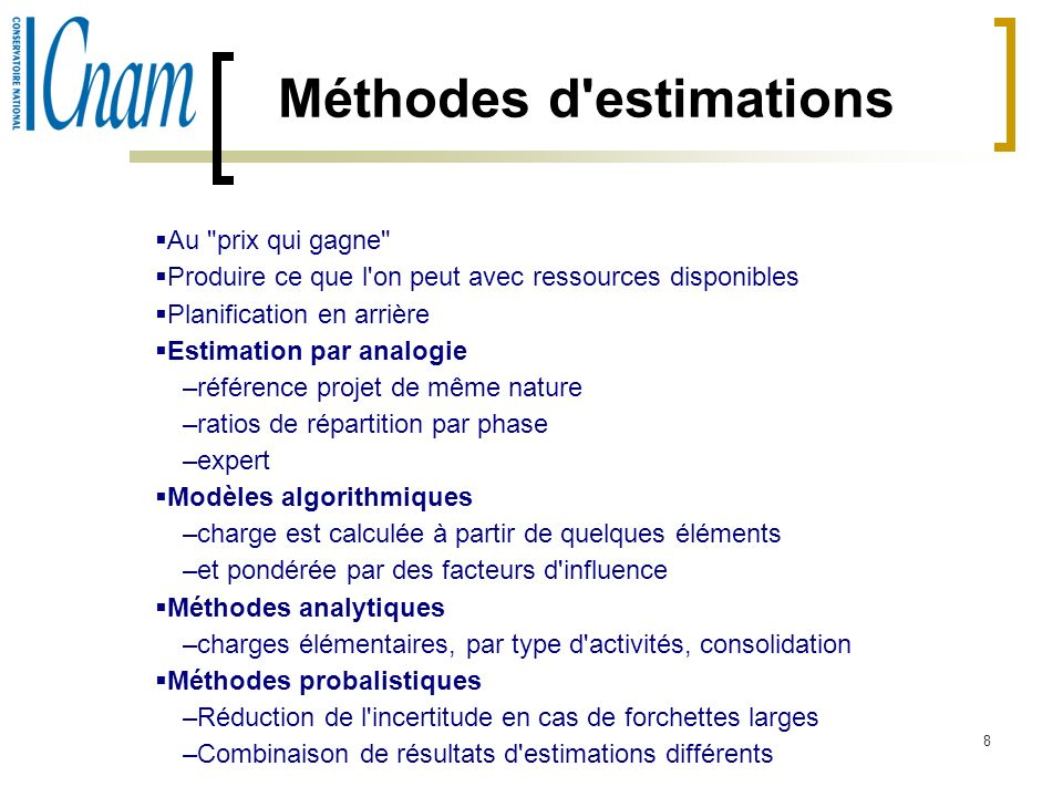 Méthodes d estimations