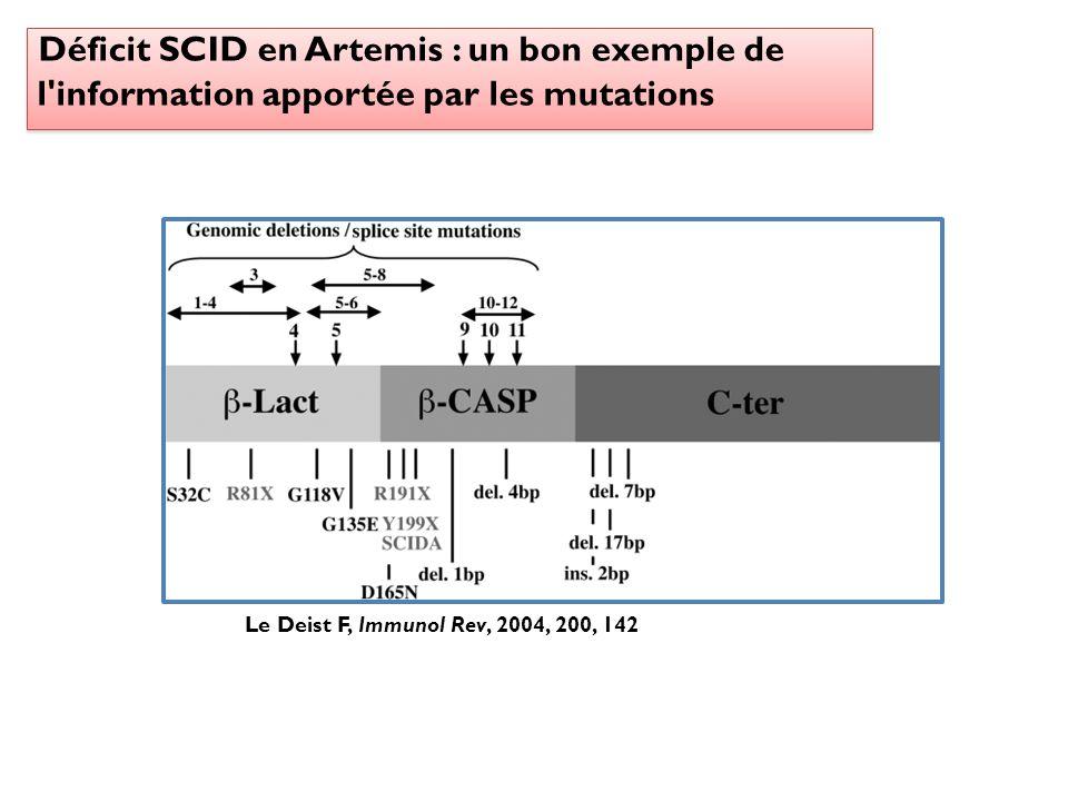 Déficit SCID en Artemis : un bon exemple de l information apportée par les mutations