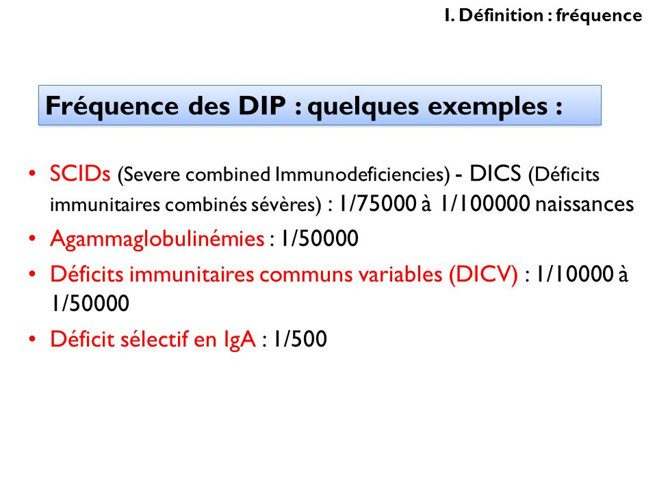 Fréquence des DIP : quelques exemples :
