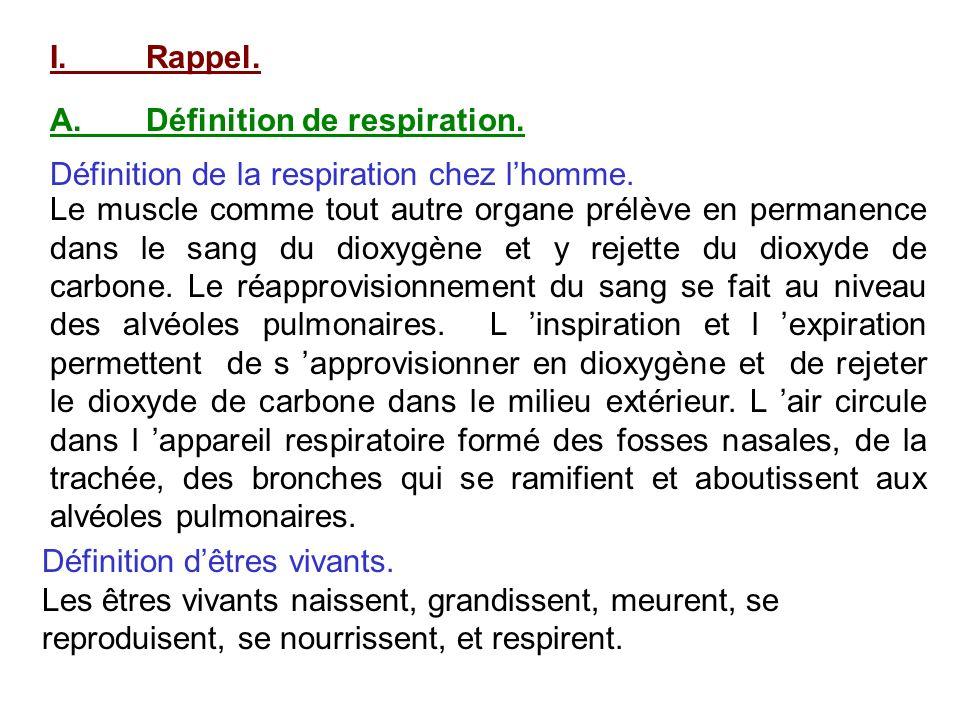 I. Rappel. A. Définition de respiration. Définition de la respiration chez l'homme.