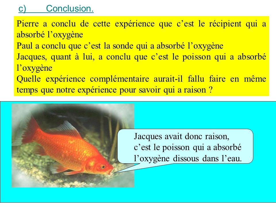 c) Conclusion. Pierre a conclu de cette expérience que c'est le récipient qui a absorbé l'oxygène.