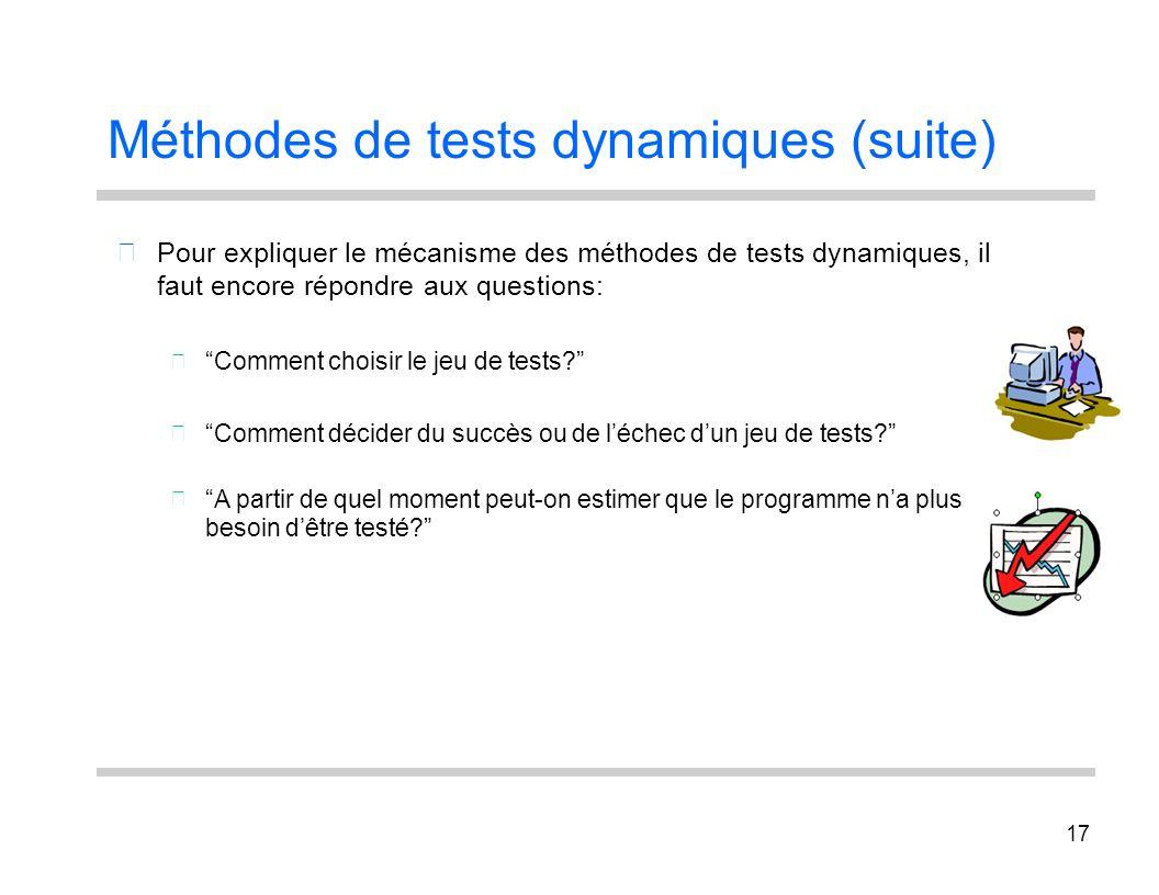 Méthodes de tests dynamiques (suite)
