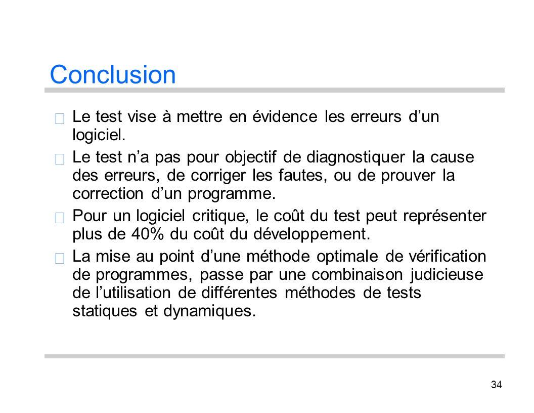 Conclusion Le test vise à mettre en évidence les erreurs d'un 