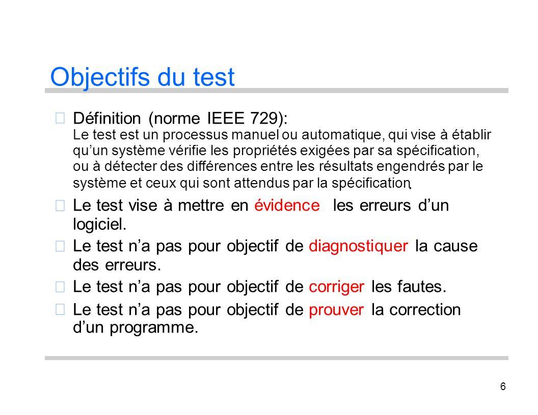 Objectifs du test  Définition (norme IEEE 729): . 