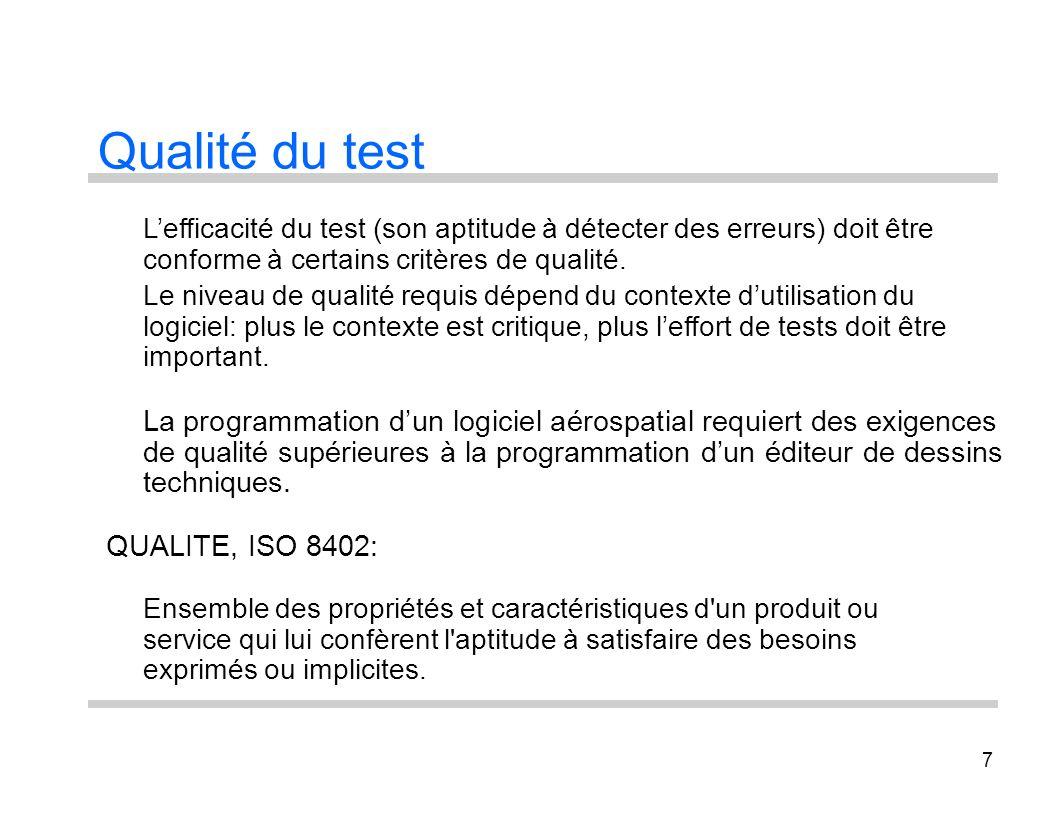 Qualité du test L'efficacité du test (son aptitude à détecter des erreurs) doit être. conforme à certains critères de qualité.