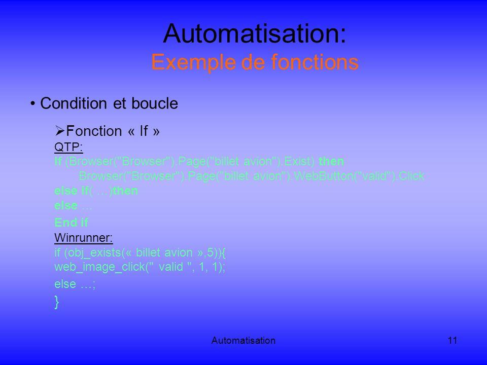 Automatisation: Exemple de fonctions