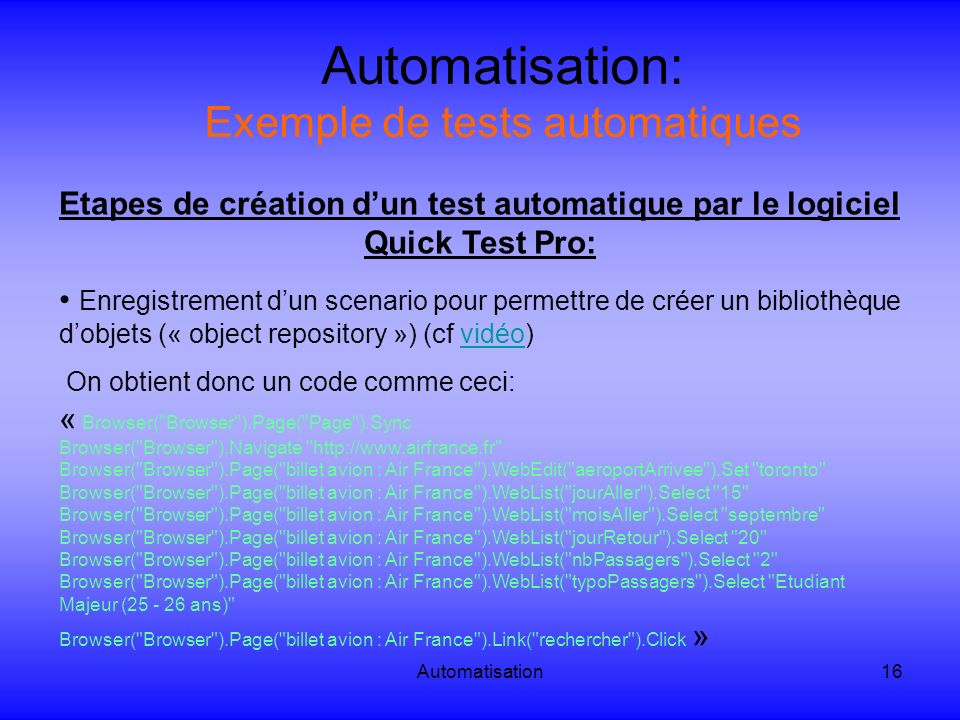 Automatisation: Exemple de tests automatiques