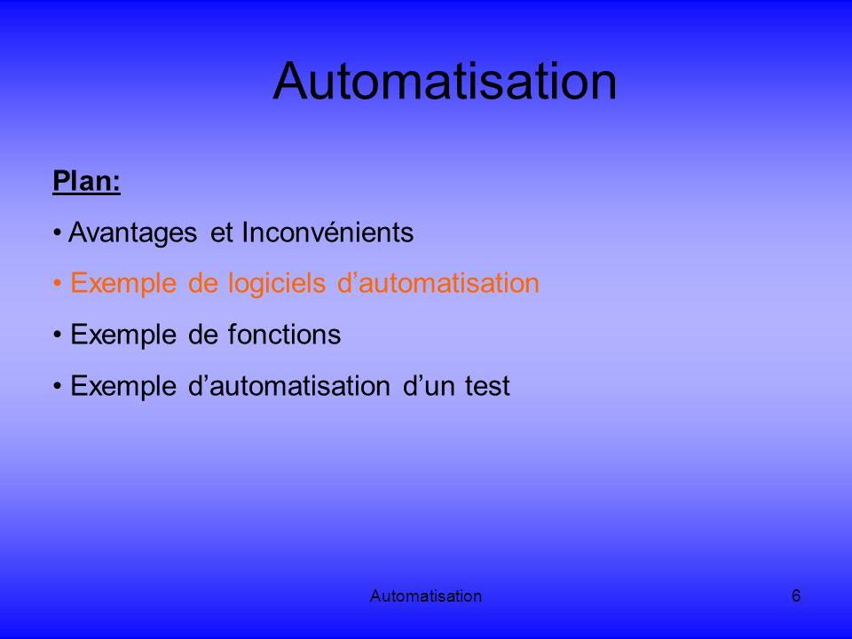 Automatisation Plan: Avantages et Inconvénients