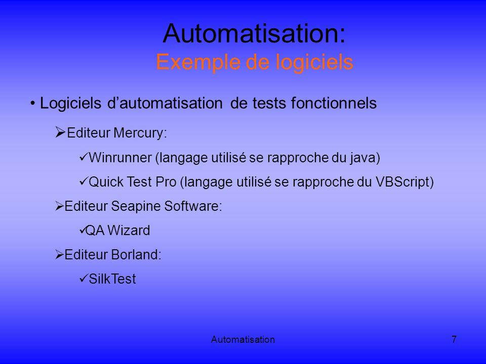 Automatisation: Exemple de logiciels