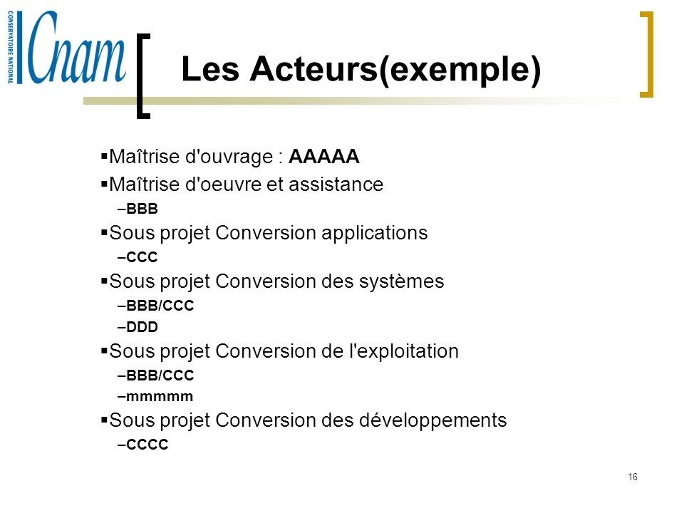 Les Acteurs(exemple) Maîtrise d ouvrage : AAAAA