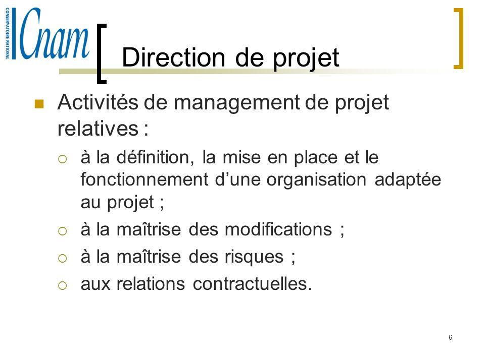 Direction de projet Activités de management de projet relatives :