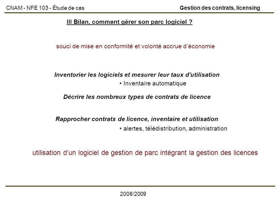 CNAM - NFE 103 - Étude de cas Gestion des contrats, licensing
