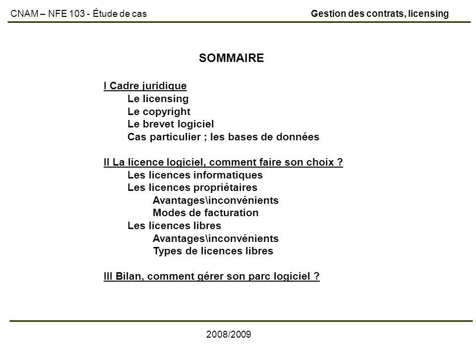 SOMMAIRE I Cadre juridique Le licensing Le copyright