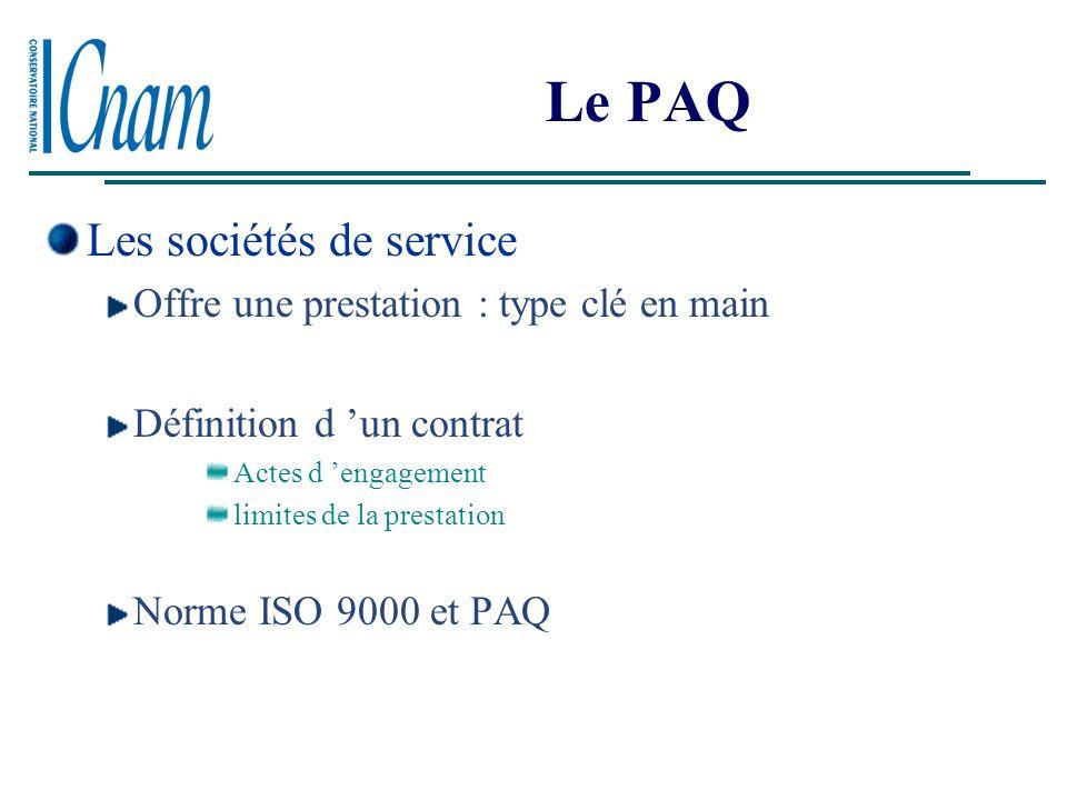 Le PAQ Les sociétés de service Offre une prestation : type clé en main