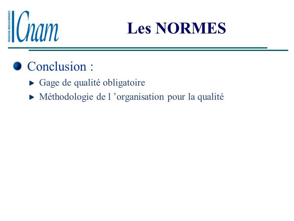 Les NORMES Conclusion : Gage de qualité obligatoire