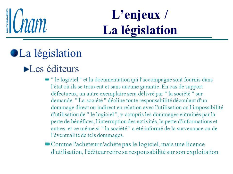L'enjeux / La législation