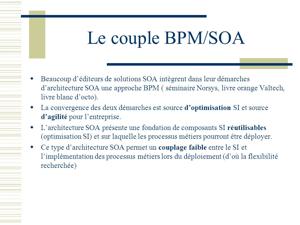 Le couple BPM/SOA