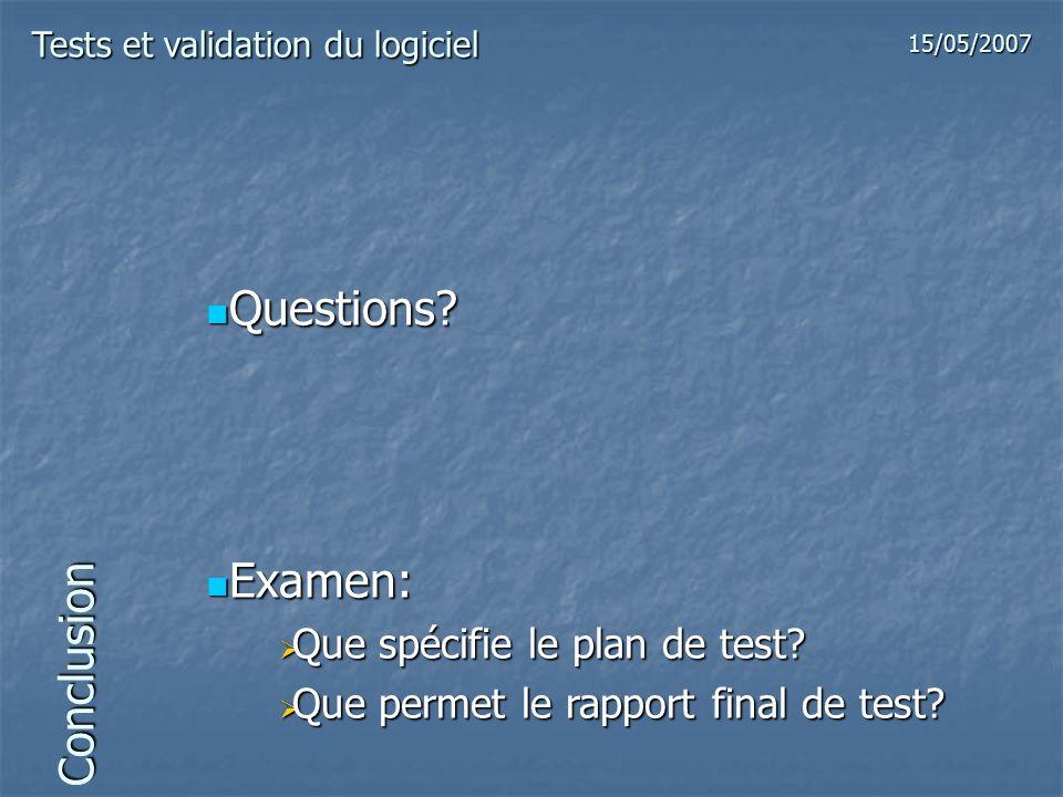 Questions Examen: Conclusion Que spécifie le plan de test