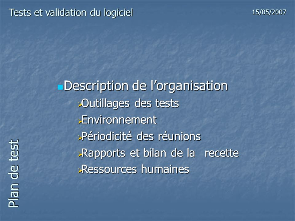 Description de l'organisation