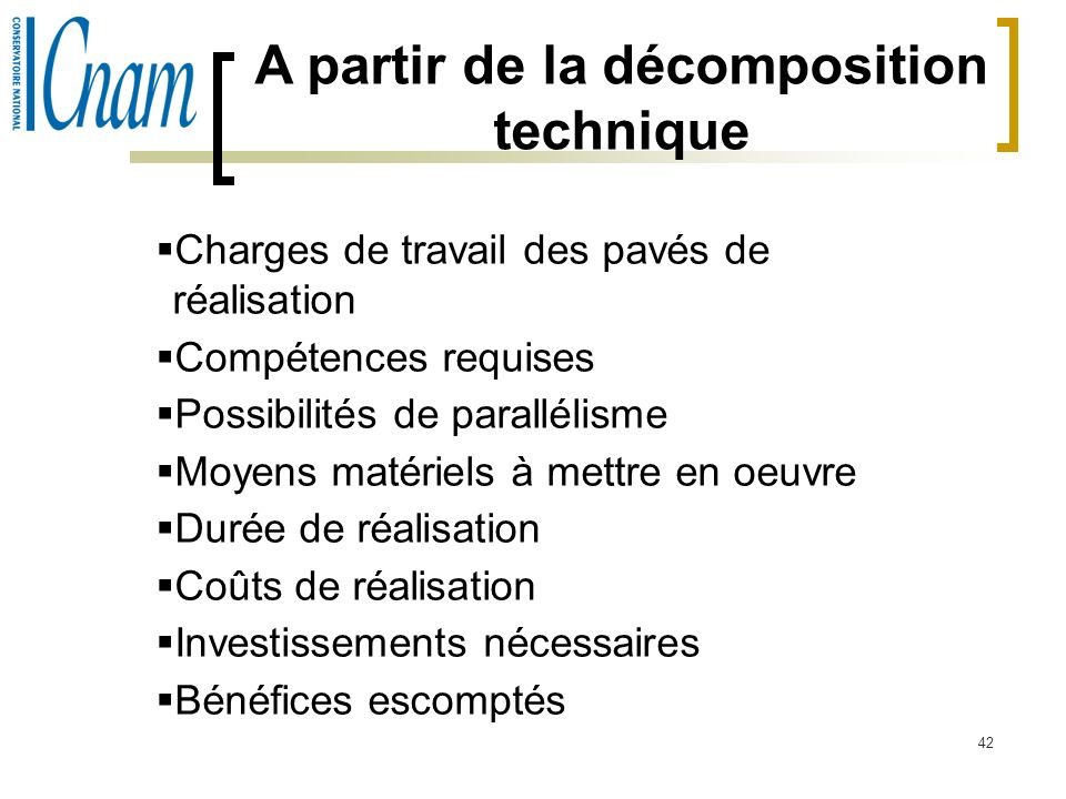 A partir de la décomposition technique