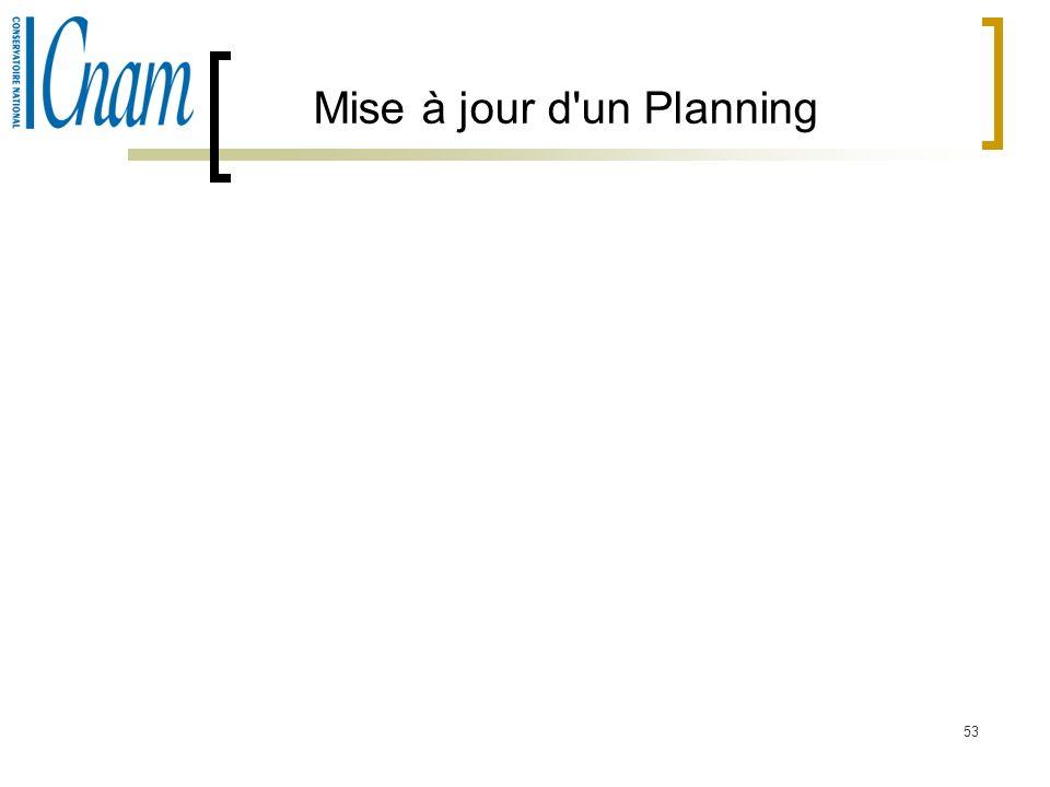 Mise à jour d un Planning