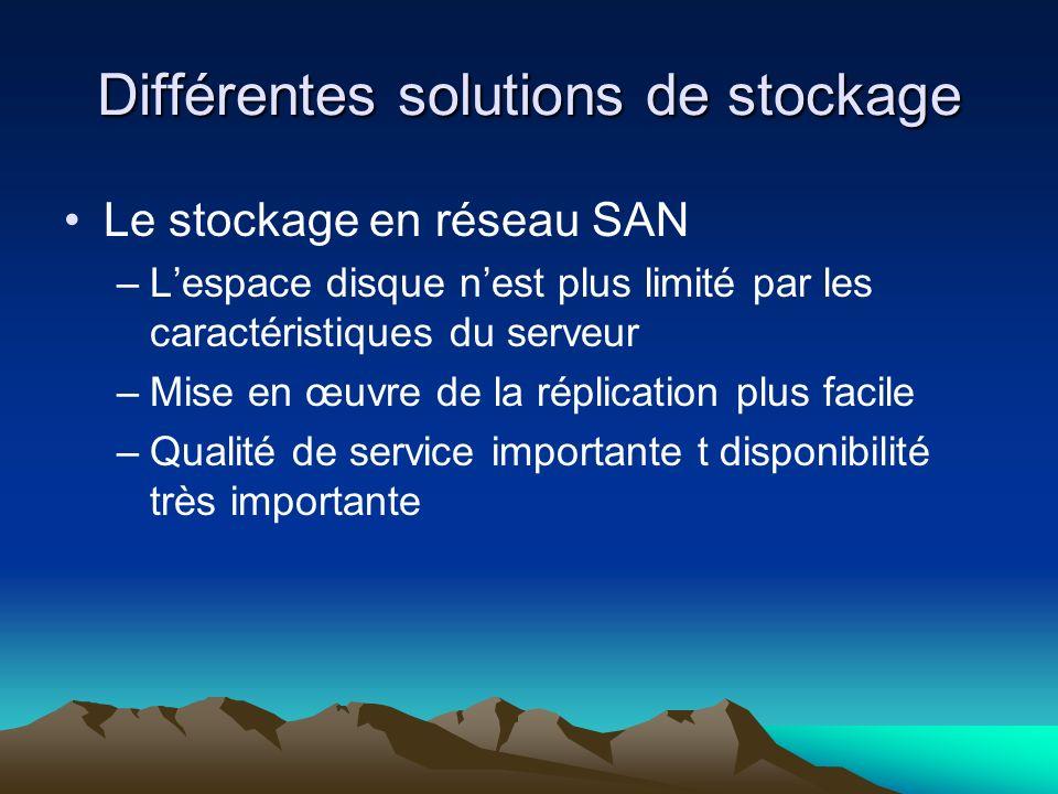 Différentes solutions de stockage