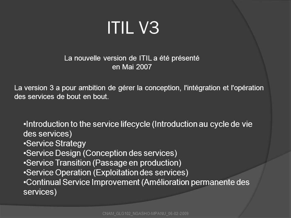 ITIL V3 La nouvelle version de ITIL a été présenté en Mai 2007.