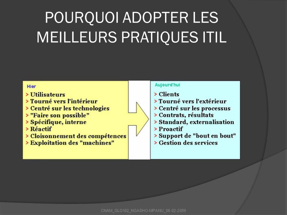 POURQUOI ADOPTER LES MEILLEURS PRATIQUES ITIL