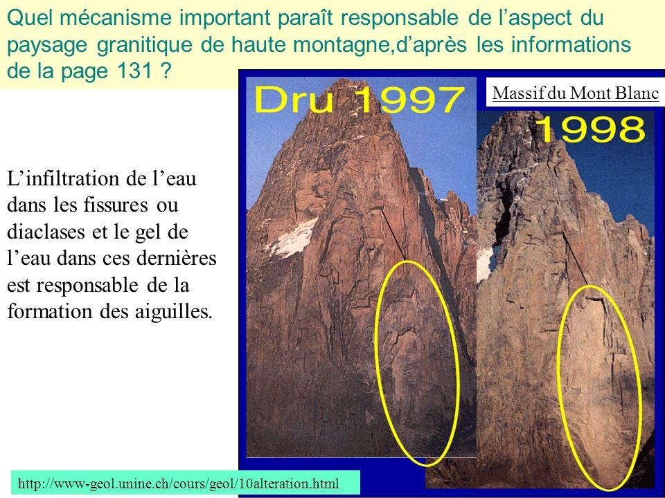Quel mécanisme important paraît responsable de l'aspect du paysage granitique de haute montagne,d'après les informations de la page 131